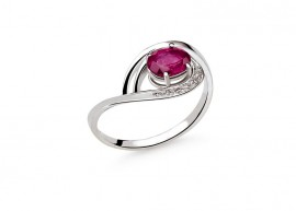 White gold Diamonds and Ruby ring 1