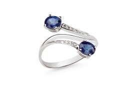 White gold sapphires ring 1